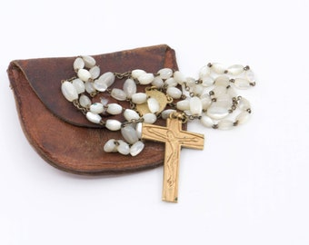 French vintage rosary mother of pearl MOP chain gold tone metal cross stamped FRANCE with leather pouch antique Lourdes religious devotion