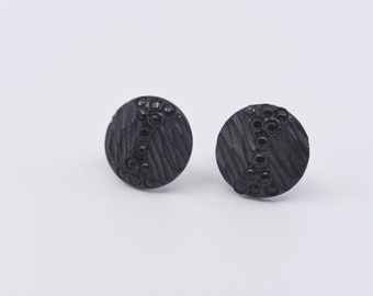 vintage black small round button clip on earrings antique handmade Victorian jet black mourning style revival jewellery made in France