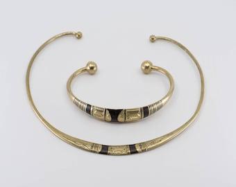 vintage cuff necklace bangle set primitive ethnic torque jewellery hand crafted with wood ebony inlay African choker tuareg touareg style