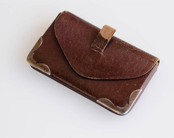 antique coin purse French vintage shabby chic leather pouch purple interior battered genuine leather small coin purse made in France c.1940s