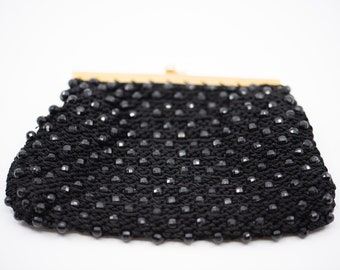 black bead vintage clutch purse French handbag pouch cocktail wedding evening fashion accessory midcentury modern style c.1950s glamour rare