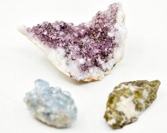 vintage crystals rocks set of 3 purple amethyst cluster sky blue celestite celestine mineral rock golden fleck unidentified collection 144g
