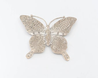 butterfly pendant charm hammered silver tone metal French vintage large ornate oversize statement jewellery stamp HD finding for maker 70s