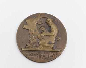 antique bronze medal coin french art deco utility electricité gaz de FRANCE H OBRIOT medallion collectors signed H DROPSY commemorative