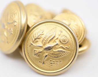 vintage brass buttons phoenix crown emblem dome shaped 2 large 7 small matching lot emblem for military uniform blazer sewing craft supply