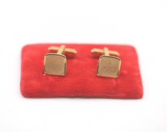 cufflinks french vintage laminated gold metal dandy fashion midcentury modernist square  vintage pair fashion made in France 1960s NOS rare