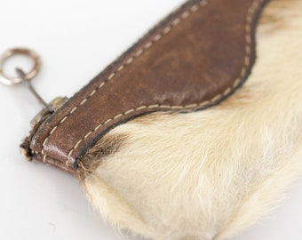small cowhide money pouch 70s leather zip coin purse French vintage accessory brown cream two tone stitching pocket size key chain fob ring