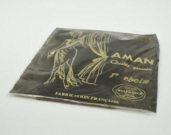 nylon stocking hold ups French vintage AMAN polyamide midcentury quality hosiery dot pattern new old stock original packaging size 3 1980s