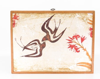 fresco fragment THERA ancient copy replica hand painted decorative tile wall art birds flower wood frame National Museum of Athens 1509 BC