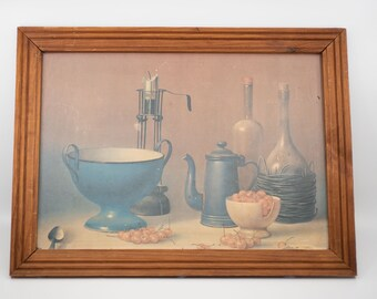 vintage wall art print reproduction PROFERIO GROSSI still life painting rustic country kitchen table still life with enamels framed c.1970s