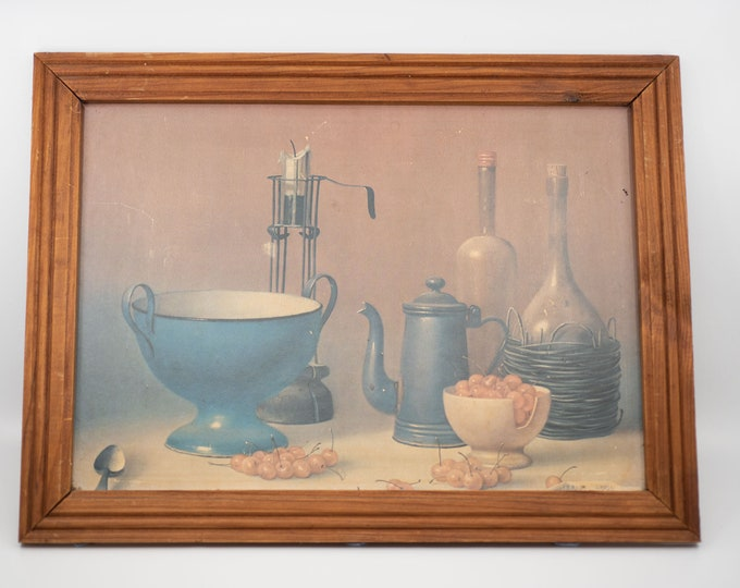 Featured listing image: vintage wall art print reproduction PROFERIO GROSSI still life painting rustic country kitchen table still life with enamels framed c.1970s