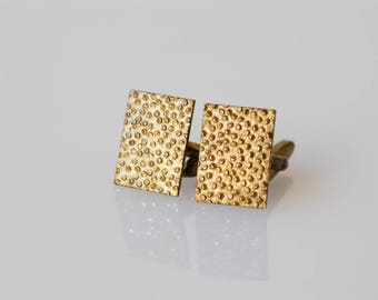 cufflinks vintage modernist brutalist midcentury gold tone textured metal french retro rectangular dandy collectible jewellery fashion rare