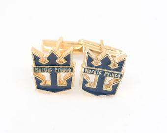 cuff links crown anchor society NORIC PRINCE vintage cruise memorabilia gold blue enamel cutout collectible accessory formal wedding rare