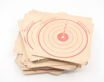 "shooting target cards French vintage air rifle bullseye red ink square card format tir a la carabine cible de tir 5 ring 10 x 10 cm 4"" rare"
