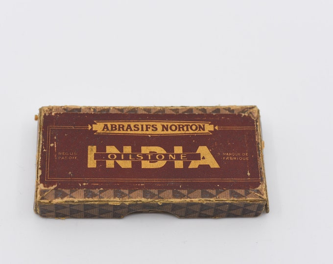 Featured listing image: vintage sharpening stone NORTON India oilstone abrasive original retro packaging design barber shop collectible toolbox item