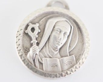 st odile protective charm silver metal Catholic JB jeanne baume signed medaille religieuse french vintage saint religious pendant jewellery