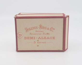 vintage black cotton yarn thread DMC 80 13 individual skeins in box French vintage craft sewing supply made in France Dollfus Mieg Cie rare
