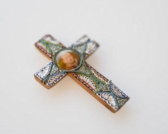 Italian antique cross photo frame micro mosaic vintage colour tint Pope photo millefiori spirituality Catholic religious collectible