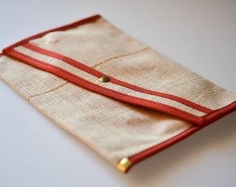 french vintage clutch bag woven ecru retro orange strip medium midcentury envelope evening bag no handle summer accessory made in France