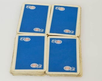 vintage ESSO collectible playing cards by Ducale French belotte bridge 32 deck card game retro publicity deck of cards midcentury rare