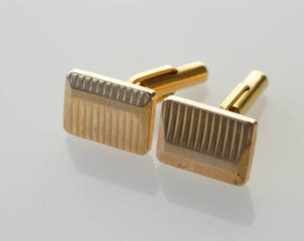 cufflinks by DIAL French vintage rectangular geometric gold tone metal midcentury modern dandy collectible jewellery wedding fashion c.1950s