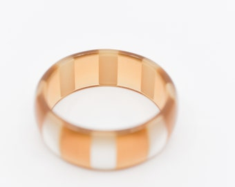 lucite bangle vintage amber pearl striped chunky statement cuff bracelet jewellery French midcentury modern early plastic made in France 60s