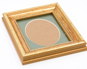 "wood picture frame for the wall French vintage gold gilt bevel edge vertical portrait oval green mount card country home deco 7"" x 6"""