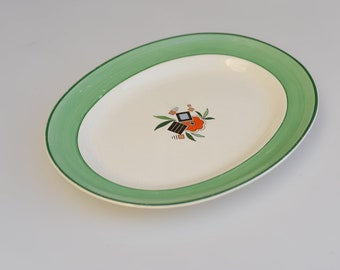vintage Minton oval plate English porcelain china serving dish stamped verso floral motif green rim rare pattern collectible Art Deco 1930s