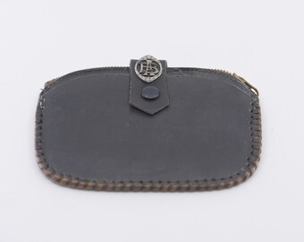 wallet black leather purse silver metal monogram initial letters FB French antique art nouveau flat vintage coin pouch made in France rare