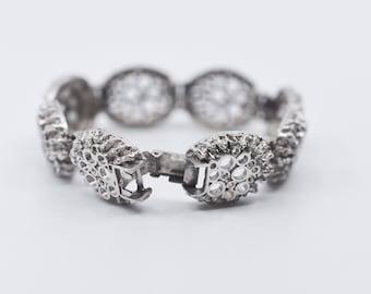 vintage link bracelet silver tone metal French modernist style jewellery midcentury modern brutalist statement bangle one size rare