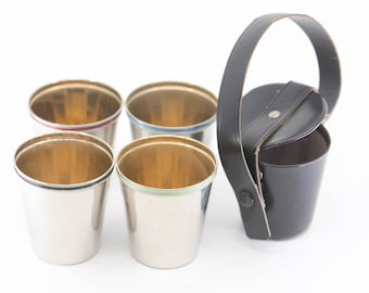 small cups German vintage picnic stackable camping small tumbler set of 4 chrome finish black leather carry case midcentury modern home 50s