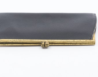 wallet purse French vintage LE TANNEUR black leather accessory porte monnaie slim long pouch gold tone clasp long made in France 1940s rare