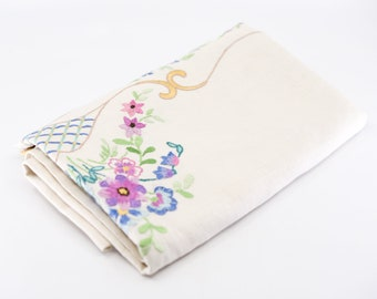 """English linen tablecloth floral embroidery detail purple blue flowers lace trim handmade country home decor 102cm 40"""" square for the table"""
