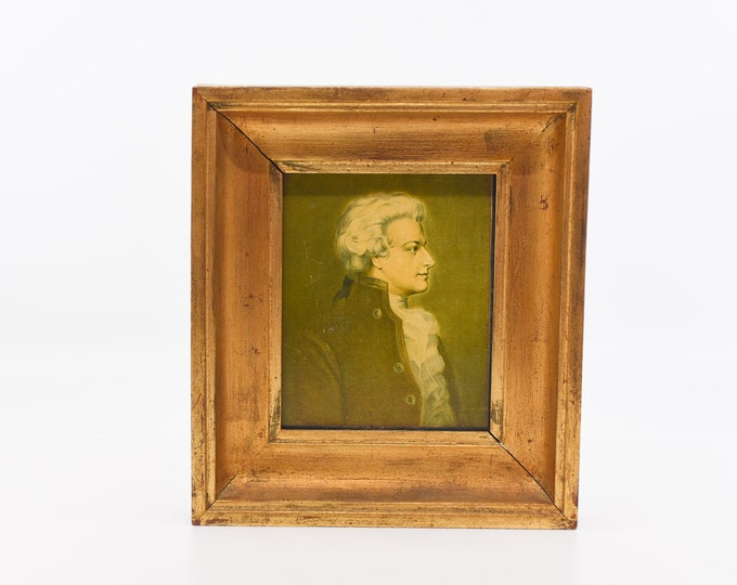 Featured listing image: oil painting portrait of Amadeus Mozart classical with wood gold gilt tone frame hanging for the wall home decor musician ARTEL atelier art
