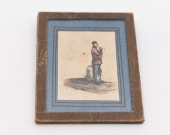 antique miniature engraving ancienne gravure vintage wall art asian opium pipe smoker framed picture small colour print rare collectible