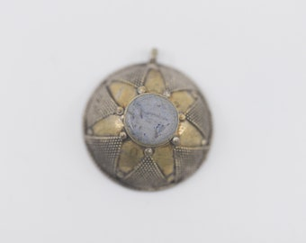 pendant dome star floral brass blue centre handmade vintage tribal ethnic geometric jewellery chunky statement collectible piece Middle East