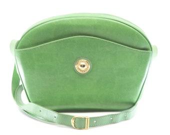 leather bag French vintage green shoulder bag gold metal trim designer fashion accessory SYLVAIN LEFEBVRE long strap handbag cuir vert rare