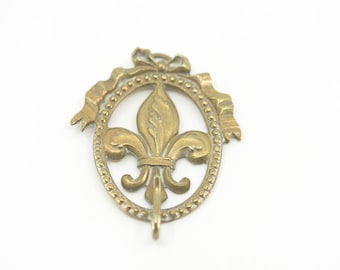 antique wall hook French brass vintage fleur de lys lis oval shape ornate single coat hook country home decor stamp verso initials + PARIS