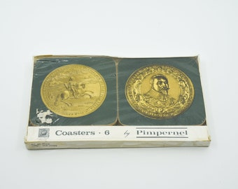 vintage coasters set of six PIMPERNEL OLD COINS Celluware green and gold placemats vintage kitchen for the table made in Great Britain rare