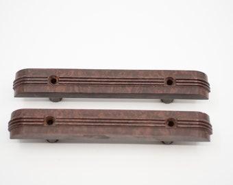 pulls handles matching pair French vintage brown bakelite retro art deco style early plastic hardware midcentury modern kitchen drawers 50s