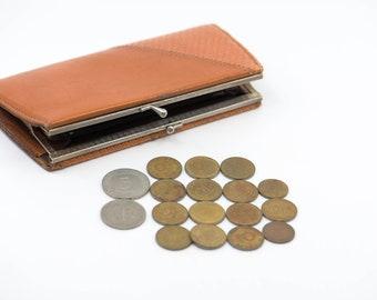 coin purse German vintage brown tan leather rectangular pouch & variety vintage pfennig deutsche mark coins midcentury collection 50s - 80s