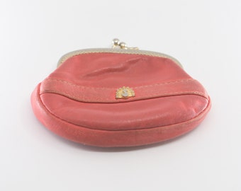 coin purse French vintage red leather black liner gold swan motif midcentury mod metal clasp porte monnaie one compartment retro pouch 1960s