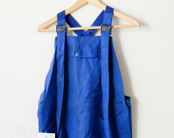 Featured listing image: workwear blue overalls french vintage combinaison jumpsuit blue worker chore wear Bugatti 100% cotton midcentury clothing fashion size T2