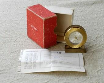 alarm clock Swiza UTI 8 reveil midcentury collectible swiss vintage travel clock gold tone metal original box and certificate 1960s rare