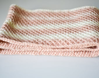 handmade hand knitted snood cream pink circular scarf wrap tunisian afghan crochet style knit one size long length made in France