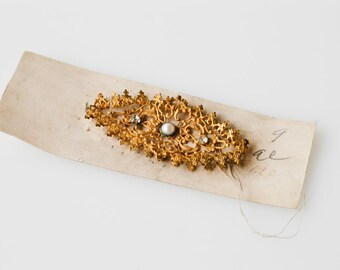 embellishment hat dress trim French antique metal ornate decorative millinery gold tone metal large oval pearl crystal detail craft supply