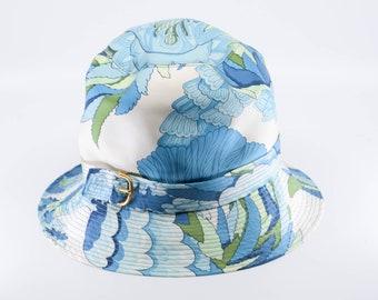 vintage silk HERMES PARIS sun bucket hat blue green white floral gold buckle French designer summer fashion wedding accessory 1960s rare