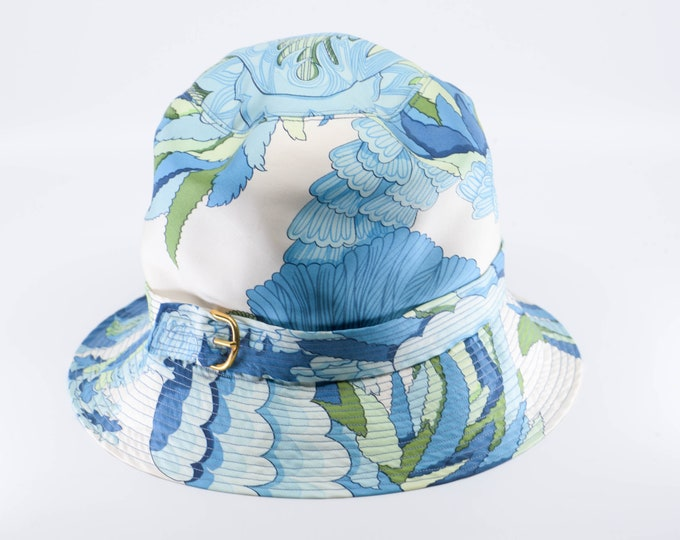 Featured listing image: vintage silk HERMES PARIS sun bucket hat blue green white floral gold buckle French designer summer fashion wedding accessory 1960s rare