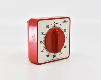 vintage minute egg timer 70s retro PRIM kitchenware cooking gadget made in Czechoslovakia red cream square table top mechanical wind up rare