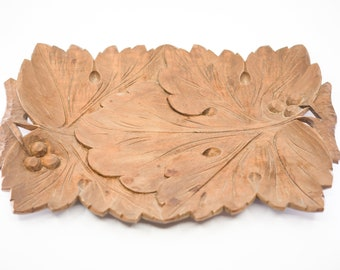 vintage Polish hand carved wood decorative plate dish folk art PIENINY signed verso raised relief plant leaf motif rectangular 33.5 x 21.5cm